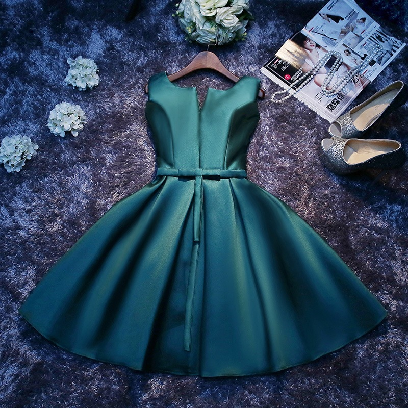 2019 New Cheap Multiple Colour Short Evening Dress Noble Satin With Belt Fashion Slim Party Prom A-line Dress Plus Size L