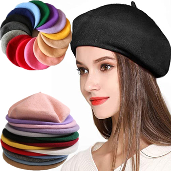 Vintage Plain Beret Cap Beanie Hat French Style Women Girls Wool Warm Winter Hat Femme Hats Caps Street Fashion