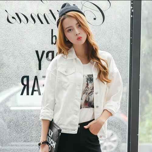 2019 גלימת נשים של סתיו קיץ ג 'ינס vintage כותנה לבן רופף נשי ג' ינס מעיל Tunique בנות להאריך ימים יותר AH84