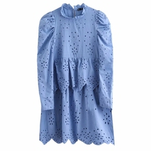 2020 women pleated puff sleeve cascading ruffles solid casual mini dress elegant