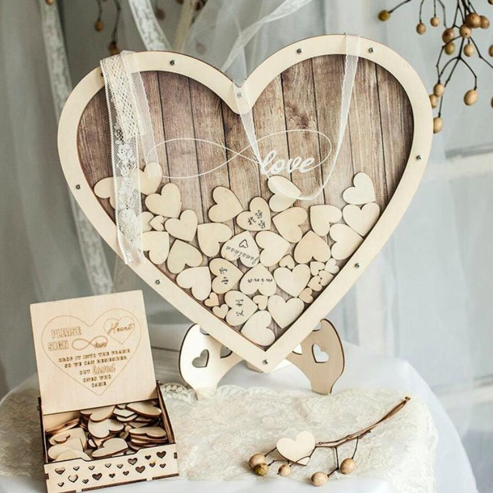Heart Shape Wedding Guest Book Decoration Rustic Sweet Heart Drop Box Wedding Drop Box 3D Guestbook Wooden Box PAPARTDIY Design