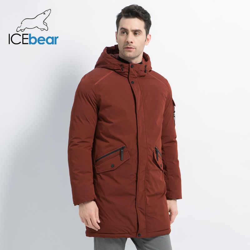 ICEbear 2019 新高品質冬コートシンプルなカジュアルコートデザイン男性の暖かいフードブランドファッションパーカージャケット MWD18718D