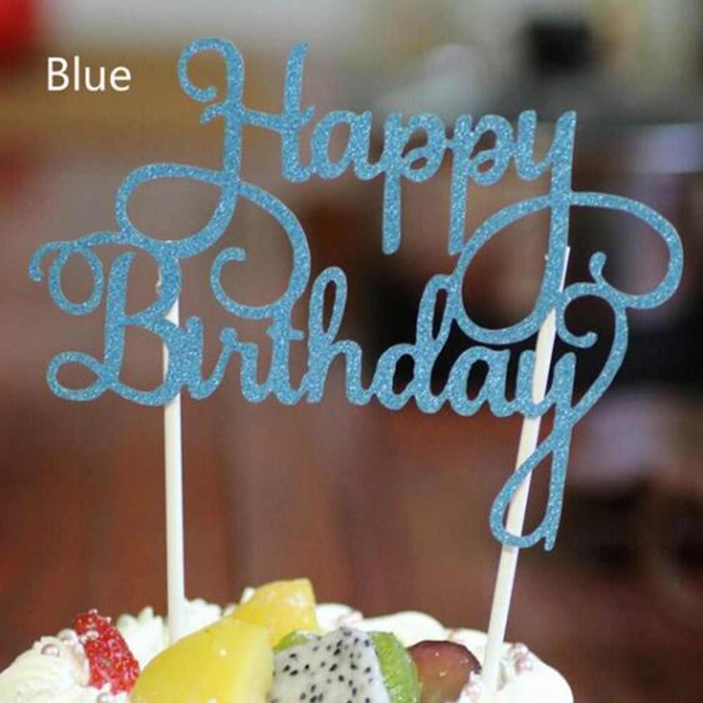 Brinquedo de bolo de cupcake, dourado, prata, azul, feliz aniversário, bolo, top, bandeiras para amor, família, festa de aniversário, suprimentos de decoração, imperdível