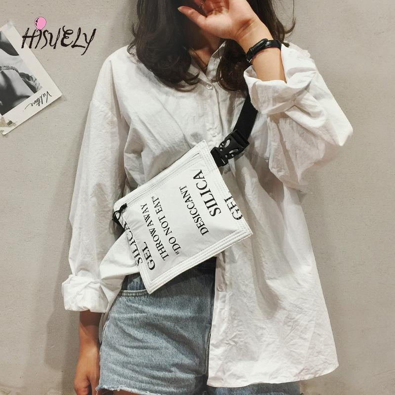 HISUELY 2020 Women Waist Bag Belt Bag Fanny Pack Bags For Women Chest Bag Letter Printing Phone Pouch Purse Free Shipping Hot
