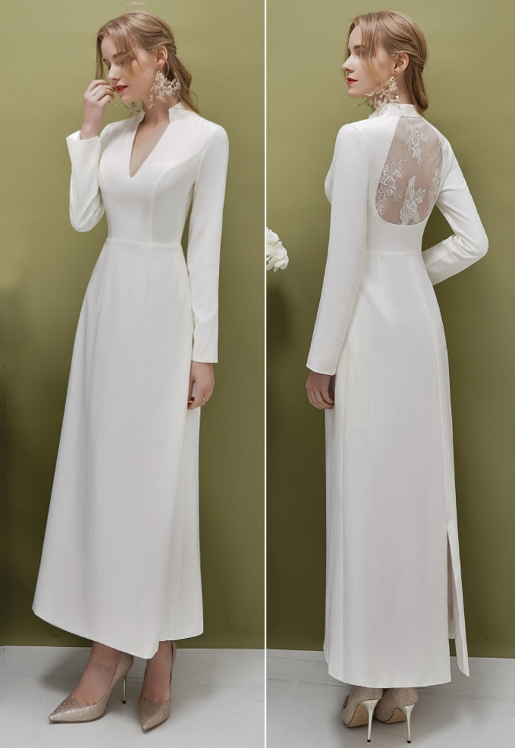 Soft Satin Lace Back Long Sleeve  Ivory V Neck Evening Dress Simple Bridal Gown Real Photo Factory Price