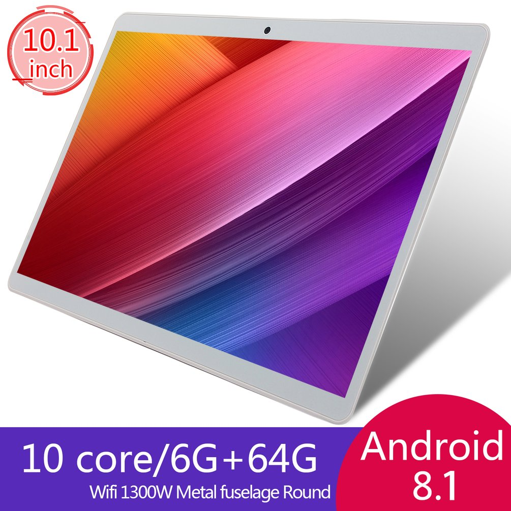 V10 Klasik Tablet 10.1 Inci HD Layar Besar Android Versi 8.10 Fashion Portable Tablet 6G + 64G Putih tablet Putih US Plug title=