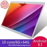 V10 Klasik Tablet 10.1 Inci HD Layar Besar Android Versi 8.10 Fashion Portable Tablet 6G + 64G Putih tablet Putih US Plug