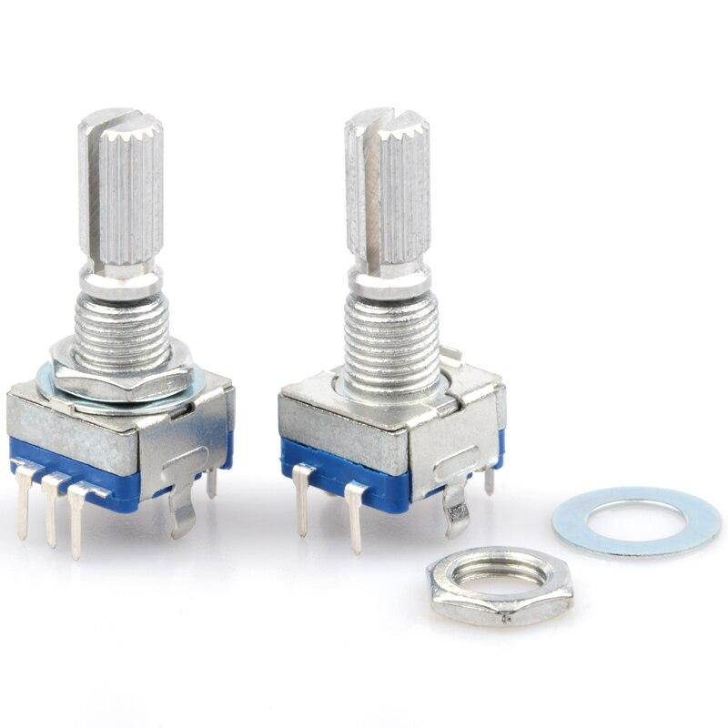 5 pièces/lot EC11 codeurs rotatifs 15mm prune poignée Audio potentiomètre numérique avec interrupteur 5 broches codeur incrémental
