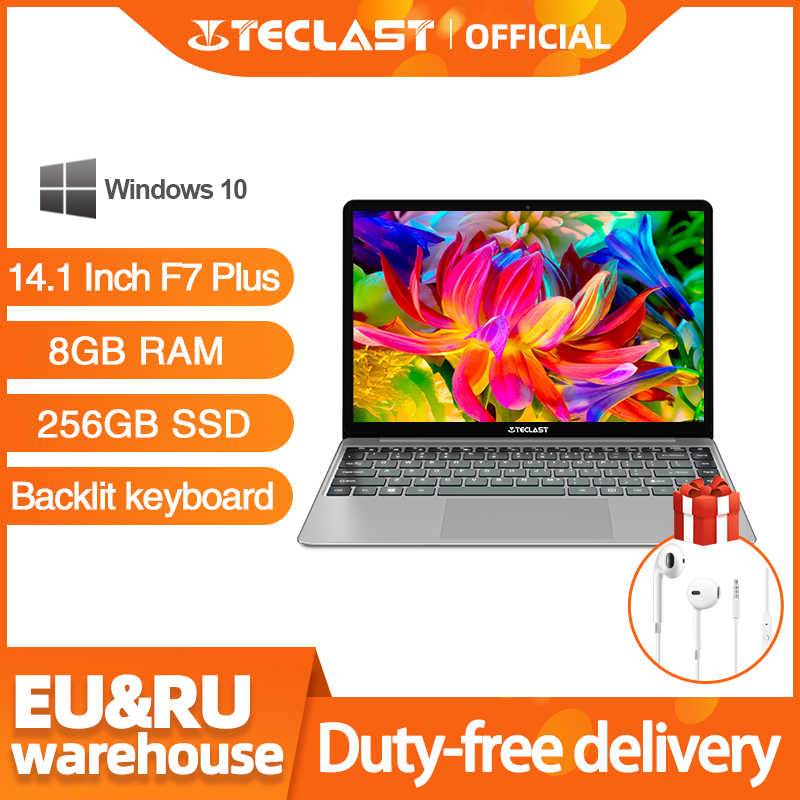 Teclast F7 Plus portátil de 14,1 pulgadas 8GB RAM 256GB SSD Windows Intel lago Géminis N4100 Quad Core 1920x1080 Ultra delgado