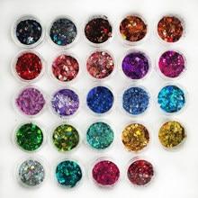 24 töpfe/lot 24 farben HOLOGRAPHISCHE NAGEL PULVER 008-3mm REGENBOGEN Glitter Wirkung Ultra Dünne Staub Holo holographische mix chunky glitter