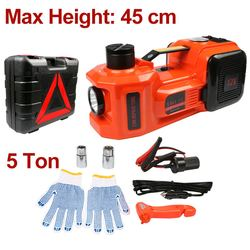 Car Jack 12V 5T 45cm 3 in 1 Electric Hydraulic Floor Rolling Jack Tire Inflator Pump LED Flashlight Safe Hammer