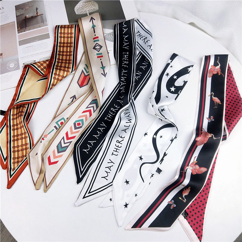2019 Satin DIY Print Small Scarf Women Riband Handle Bags Scarf Narrow Long Wrist Small Ribbon Fashion Hair Band Scarves & Wraps