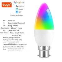 Tuya Candle Light Smart Wifi lampadina a LED E26 E27 RGB + W + C luce dimmerabile LED telecomando lavora con Alexa Google Home Assistant