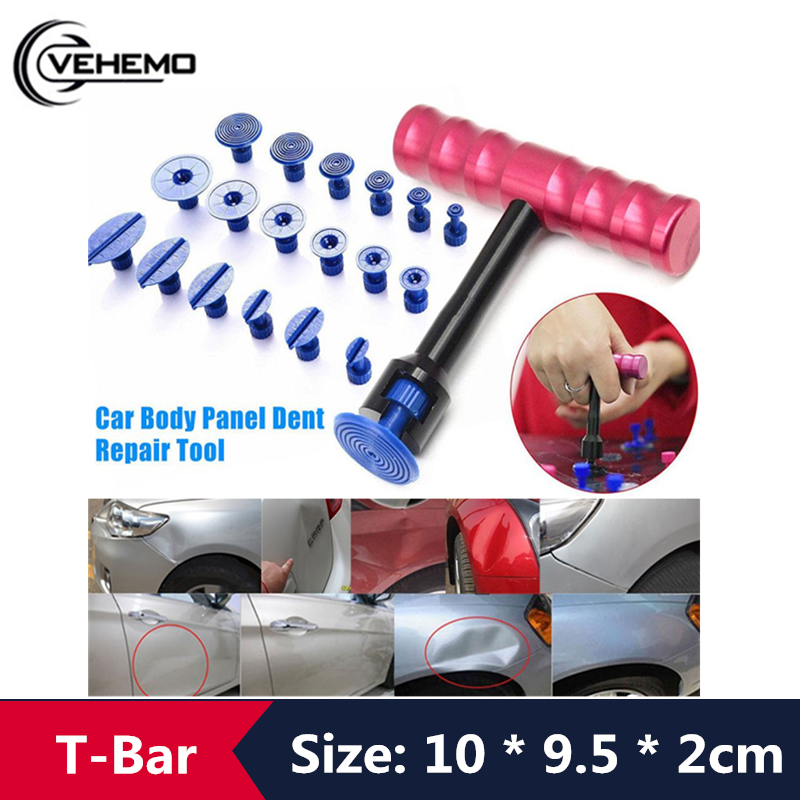 VEHEMO New 1 Set Car T-Bar Body Panel Paintless Hail Repair Tool Dent Puller Lifter Removal Tool With 18 Puller Tabs Hand Tool