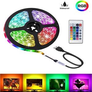 Listwy RGB LED 5V Usb sznur oświetleniowy taśma do PC TV DIY dekoracja wnętrz smd2835 wodoodporna lampa z 24 pilot z klawiszami