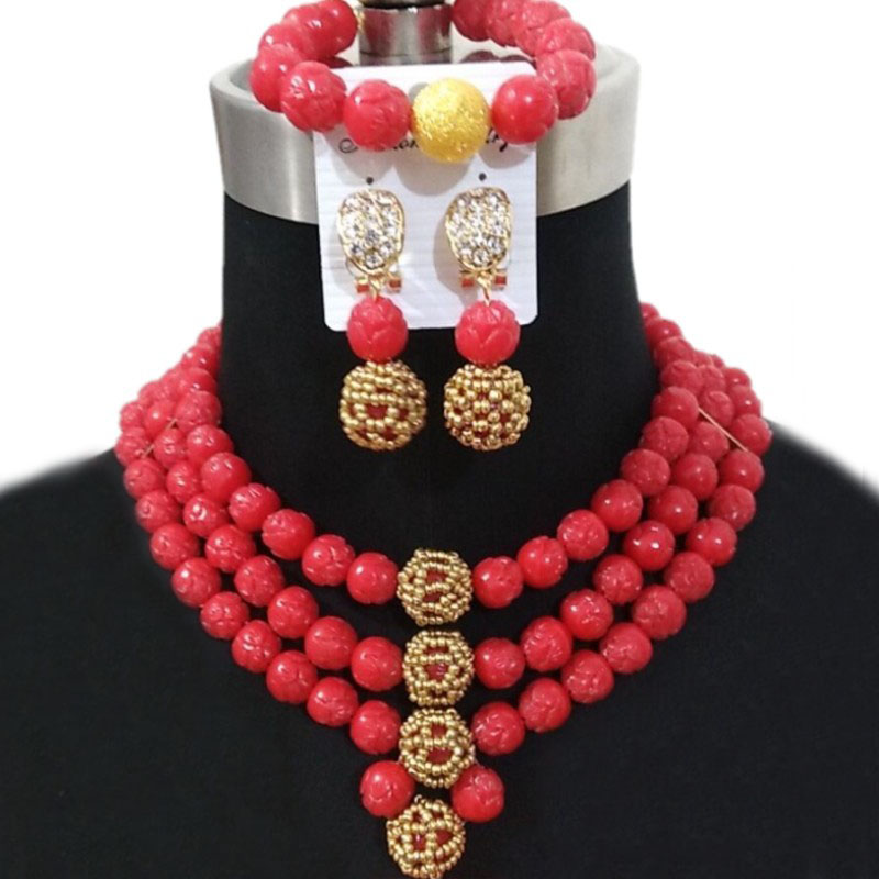 Hf06a3d8fbf5f49a2bc26646ca05aedeaQ 4ujewelry Original Coral Beads Jewelry Sets Red 3 Layers Choker Women African Jewelry Nigerian Wedding Necklace Set Dubai 2018
