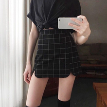 Summer Skirt Women Sexy Plaid Print High Waist A-Line Bag Hip Button Bodycon Mini Casual Harajuku Empire new skirt