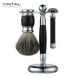 Роскошный набор бритв 3 в 1 Набор бритв для мужчин борода бритва чаша для щетки для бритья подставка держатель влажный бритвенный подарок