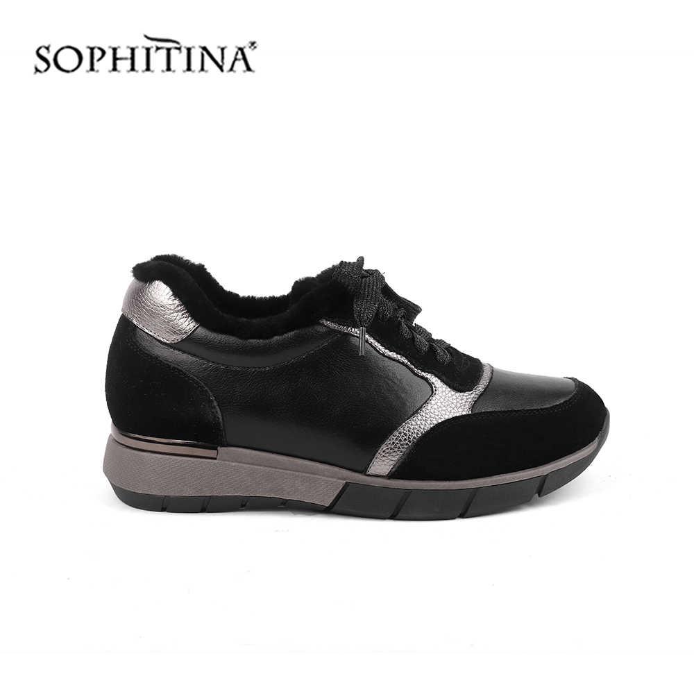 Sophitina Mùa Đông Mới Nữ Đế Bằng Thoải Mái Bò Cao Cấp Da Lộn Ấm Thời Trang Nữ Sneakers Thời Trang Cột Dây Đế Bằng SC454