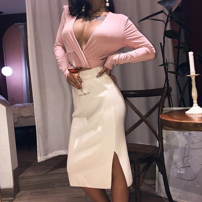 autumn Knitted Side Slit Bodycon Skirt Female 2020 Half-length Skinny Skirt High Waist Elegant Office Casual Skirt