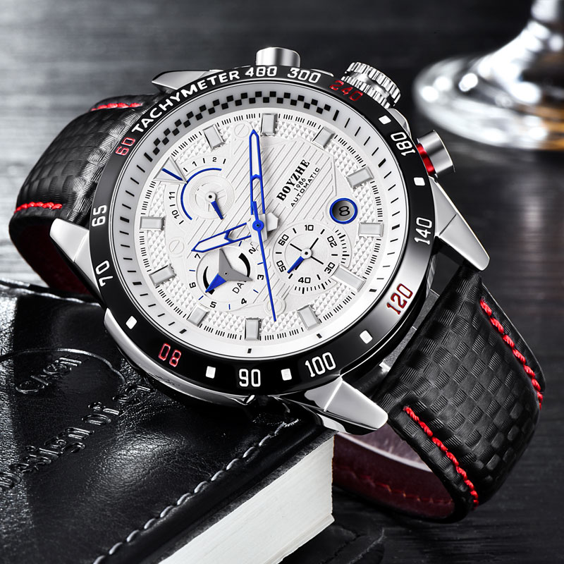 2019 New Fashion Automatic Mechanical Watch Men's Watch Leather Strap Multi-function Clock Waterproof Calendar Male Watches Hot