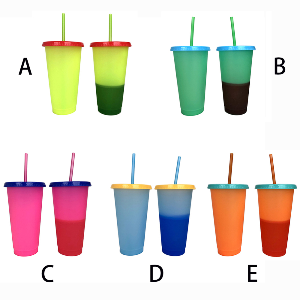 700ML Temperature Magic Plastic Iced Tumbler Ice Cold Drink Coffee Juice Tea Travel Cup Bottle Mug With Straw Color Change Cup