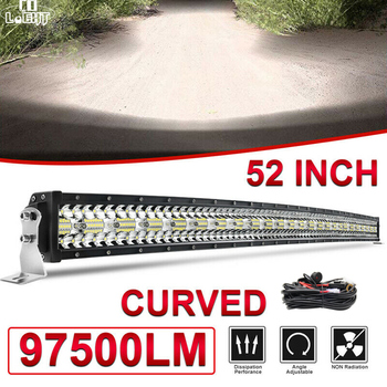 CO LIGHT 12D 52'' Curved Led Light Bar 97500LM 3-Rows Combo Led Work Light Bar for Driving Offroad Car Truck 4x4 SUV ATV 12V 24V co light 12d 3 row car led light bar combo 32 405w led work light for tractor truck atv jeep led bar offroad auto driving light