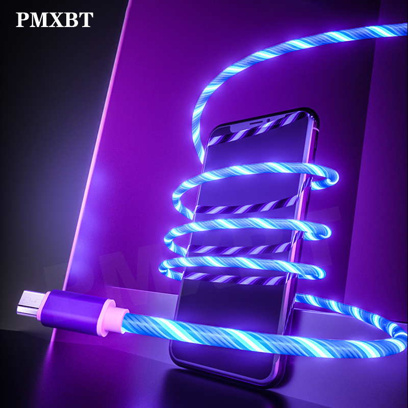 Flow Luminous Lighting Cable Fast Charging Micro USB For Samsung S9 S8 Type C Cable LED Wire Cord Charger For Huawei Phone Cord|Mobile Phone Cables|   - AliExpress