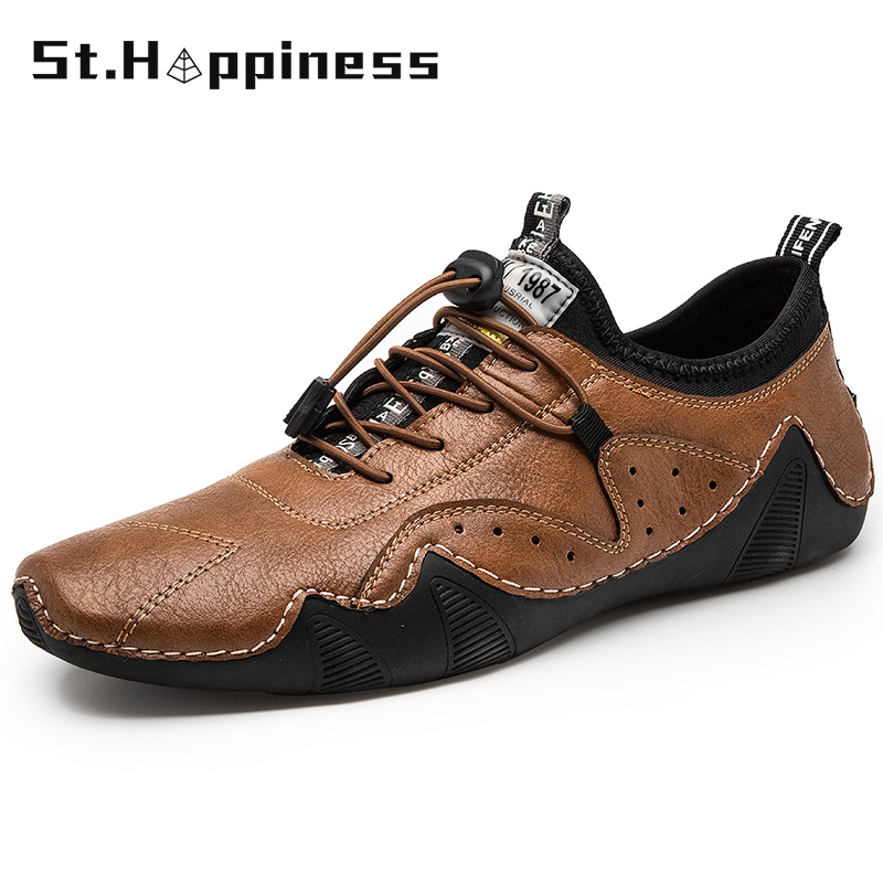 2021 New Men's Leather Loafers Luxury Brand Business Lace-Up Loafers Moccasins Fashion Casual Soft Non-Slip Driving Shoes Hot 1