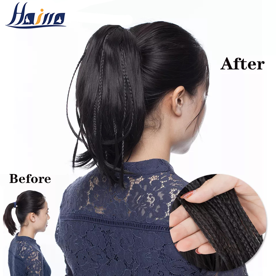 HAIRRO 12inch ponytail with braids claw clip in ponytail straight synthetic clip in hair extension Claw Ponytail for Women
