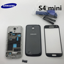 full Samsung Galaxy S4 mini i9190 i9195 Housing Case Front Frame + Back Cover Case+ Front Glass+Adhesive+Tools
