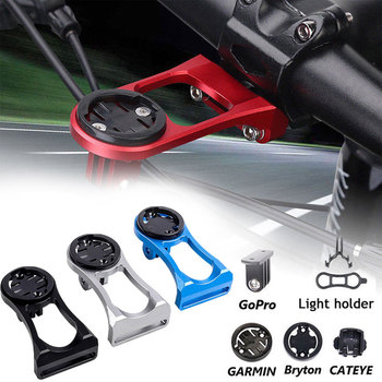 Bicycle Computer Mount Holder Bike Stem Extension with Gopro Camera Bracket Adapter For GARMIN Bryton CATEYE GPS Computer 3 in 1 mtb road bicycle computer camera mount holder out front bike stem extension support holder for garmin bryton cateye gopro light