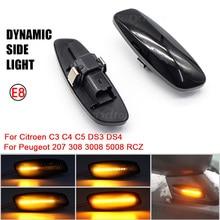 시트로엥 C4 피카소 C3 C5 DS4 푸조 308 207 3008 5008 2X LED 다이나믹 사이드 마커 턴 시그널 램프 표시 등