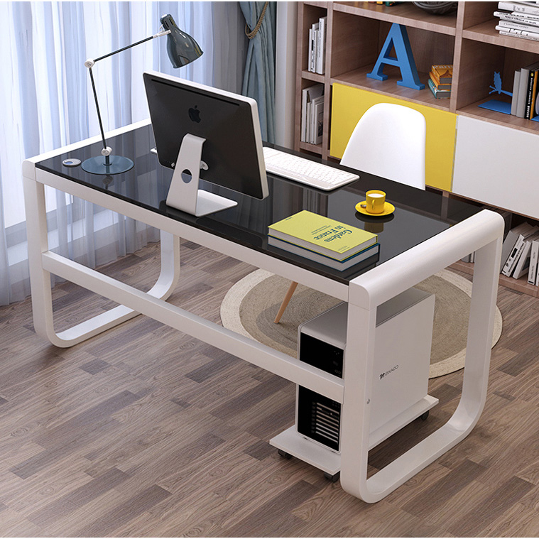 Computer Desktop Table Tempered Glass Desk Modern Minimalist Home Study Desk Economical Desk Table