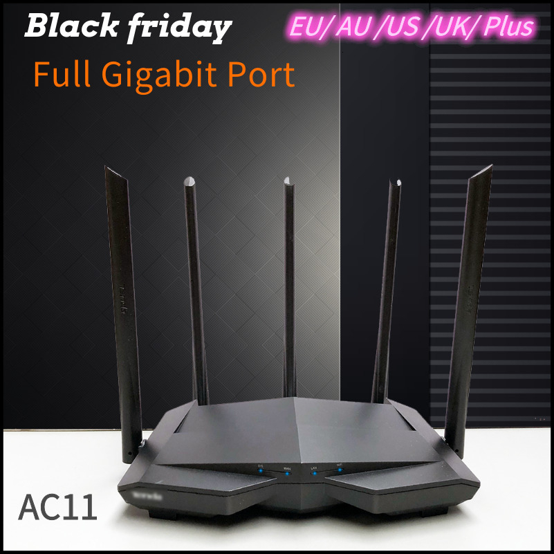 Tend English Dual Band AC11 1200Mbps Broadband Wireless Wifi Router 2.4G/5G Gigabit Wifi Repeater 5*6 Dbi Antenna 1GHz CPU 128