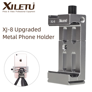 Image 1 - XILETU XJ 8 Tripod Head Bracket Mobile Phone Holder Clip For Phone Flashlight Microphone With Spirit level and Cold Shoe Mount