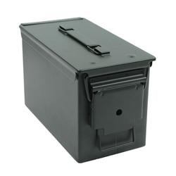 Nueva caja de municiones de acero de 50 Cal, caja de municiones de acero militar y militar sólido soporte táctico a prueba de agua para almacenamiento de balas de larga duración