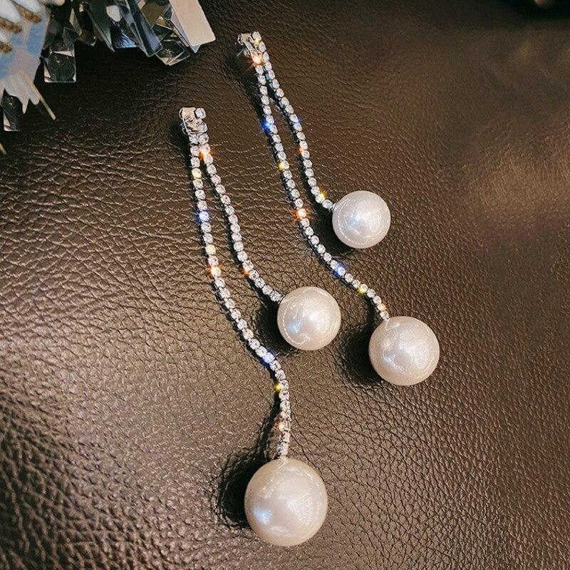 Модные длинные висячие серьги Exknl с кисточками для женщин корейские свадебные большие блестящие серьги с имитацией жемчуга и кристаллами ж...