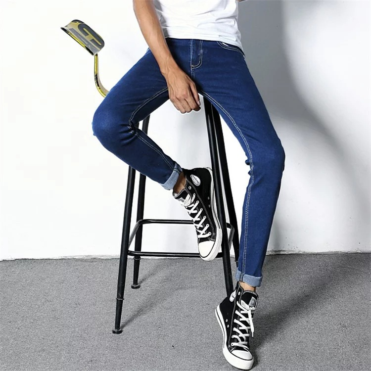 New Style Korean-style MEN'S Jeans Men Slim Fit Pencil Sports Jeans Skinny Lin Curved Night Market Fashion