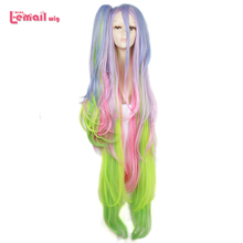 L email wig No Game No Life Shiro Cosplay Wigs Long Mixed Color Cosplay Wig Ponytail Halloween Heat Resistant Synthetic Hair