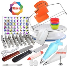 90Pcs Cake Decorating Kit Stainless Steel Set Confectionery Bags Cream Icing Pastry Piping Nozzles Tips Kitchen Cake Baking Tool