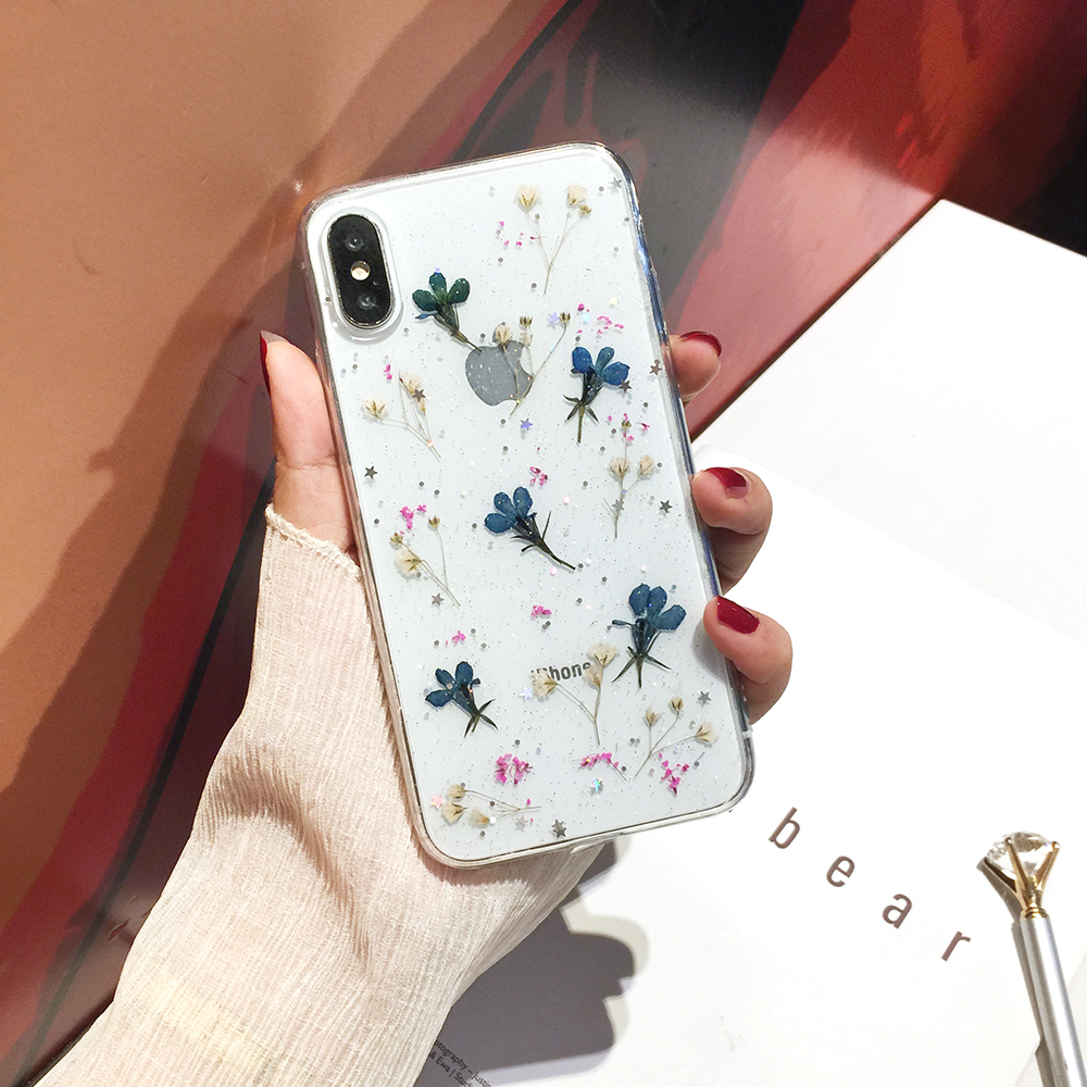 Qianliyao Real Dried Flowers Transparent Soft Cover For iPhone X 6 6S 7 8 Plus 11 Pro Max Phone Case For iphone XR XS Max Cover 5