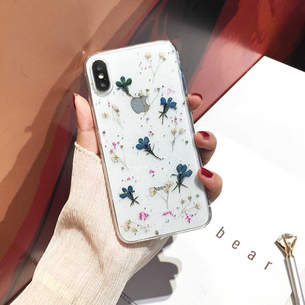 Qianliyao リアルドライフラワー透明なソフトカバー iphone × 6 6S 7 8 プラス 11 プロマックス電話ケースのための iphone XR XS 最大カバー