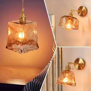 Brass glass wall lamp Nordic retro homestay bar restaurant bedside mini wall lamp creative personality coffee shop bedroom lamp