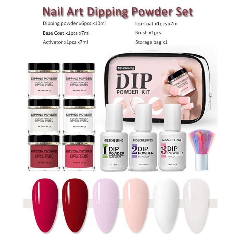 Nail Art Dipping Powder Set Manicure Infiltrating Powder Base&Top Coat Activator Long Lasting No Dryer Need Nail Beauty Tool Kit
