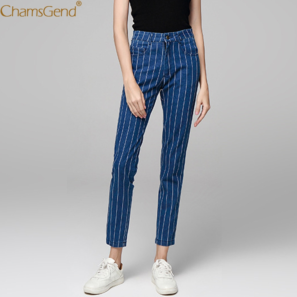 Womens Stripe Pocket Button Zipper Women Jeans Pants 2020 High Waist Jeans Pants Women Elastic Slim Fit Casual Jeans Pants Sept