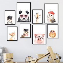 Fashion Animals Panda Giraffe Owl Pig Dog Cat Nordic Posters And Prints Wall Art Canvas Painting Pictures Kids Room Decor