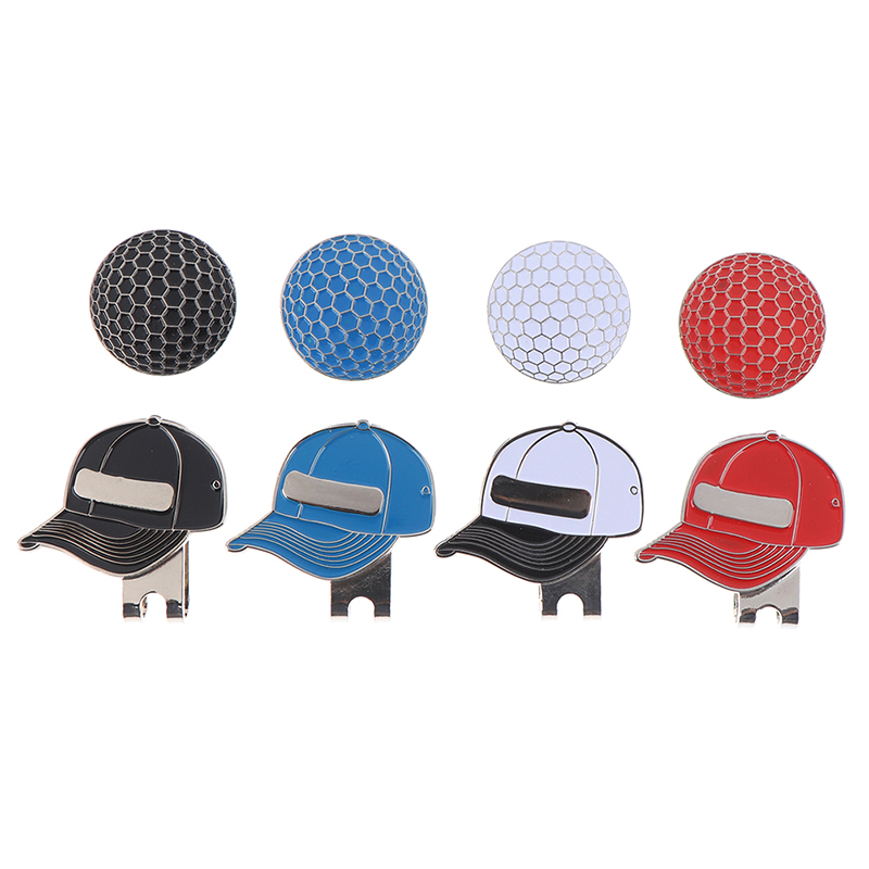 1pc Golf Ball Mark With Golf Hat Clip Magnetic Outdoor Alloy Golf Marker Caps Sports Hat Accessories Drop Shipping 3.5*3cm