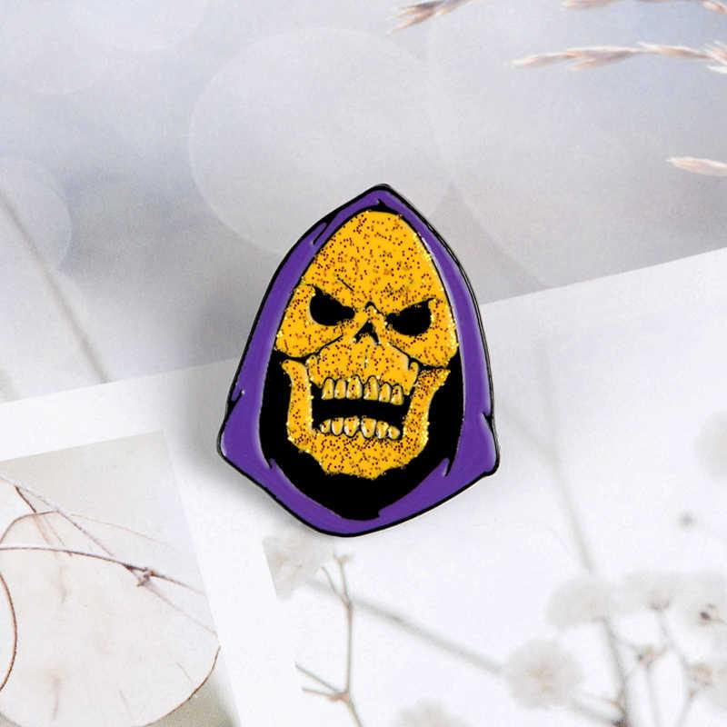 Skeletor Brooch Dello Smalto Spille Masters of the Universe Del Cranio Distintivi e Simboli Zaino Camicia Risvolto Spille Punk Dei Monili