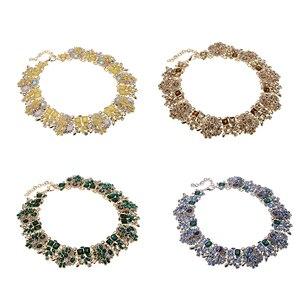 Image 3 - JEROLLIN 4 Colors Glass Rhinestone Flower Necklaces Women Fashion Crystal Jewelry Charm Choker Statement Bib Collar Necklace
